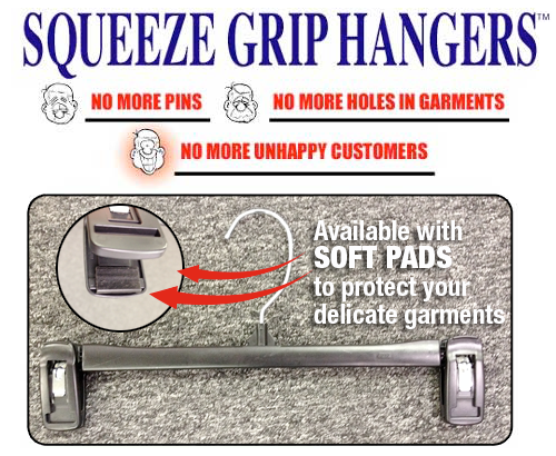 Squeeze gripper hangers have no pins and protect delicate garments